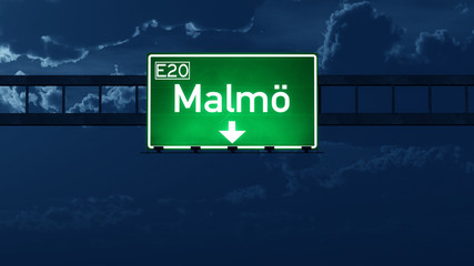 Malmo Sweden Highway Road Sign at Night