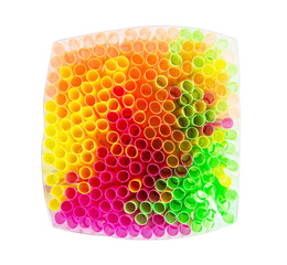 Shiny colored drinking straws
