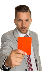 Manager mit roter Karte
