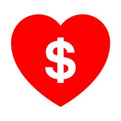 Icono simbolo dolar en corazon