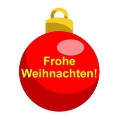 Icono texto Frohe Weihnachten! en bola roja
