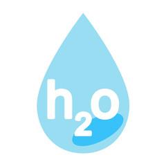 Icono texto h2o en gota de agua