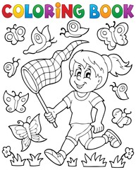Coloring book girl chasing butterflies