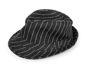 black and white striped hat isolated on white background