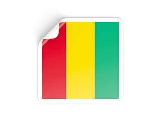Square sticker with flag of guinea