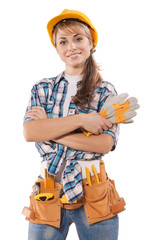 beautiful female construction worker on photo with agitation app