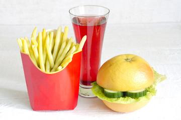 Yellow beans and grapefruit like hamburger food abstract