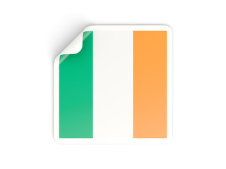 Square sticker with flag of ireland