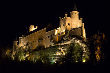 Night view of Castle Alcazar of Segovia, Castille Leon, Spain