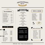Fototapety Restaurant Menu Design Template layout Vintage style
