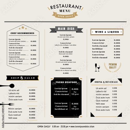 Restaurant Menu Design Template layout Vintage style - 81854377