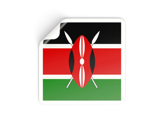 Square sticker with flag of kenya