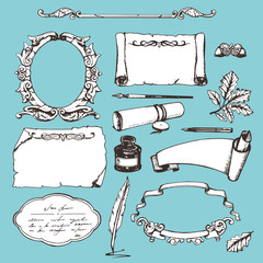 Set of various hand drawn papers and frames. Vector elements.