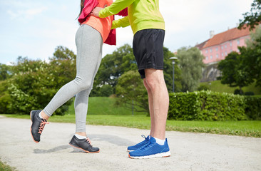close up of couple in sportswear outdoors