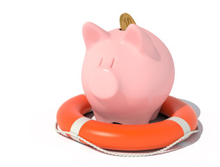 Piggy bank with a coin in the lifebuoy.