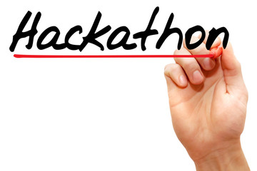 Hand writing Hackathon with marker, business concept