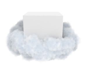 White box in a cloud isolated on white.