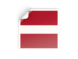Square sticker with flag of latvia