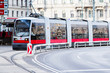 Modern red tram in Vienna Austria. - 81856114
