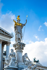 Parliament building in Vienna, Austria and statue of Pallas