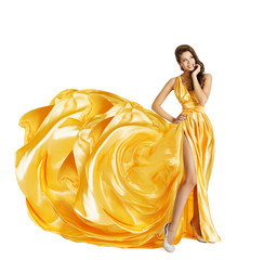 Woman in Yellow Art Silk Dress, Surprised Girl Looking Sideways