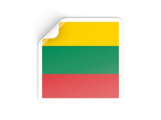 Square sticker with flag of lithuania