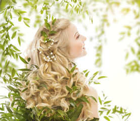 Hair in Green Leaves, Woman Long Curly Blonde, Treatment Care