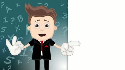 Ben Boy Friendly Business Man Manager Boss Cartoon Illustration
