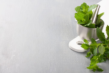 Metal mortar and pestle with fresh mint