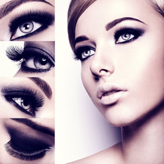 Fashion concept of style makeup. Closeup woman's face with creat