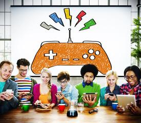 Console Connection Game Wifi Technology Joystick Concept
