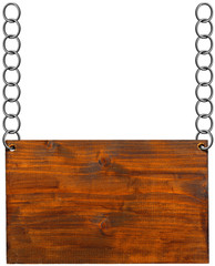 Wooden Sign with Metal Chain