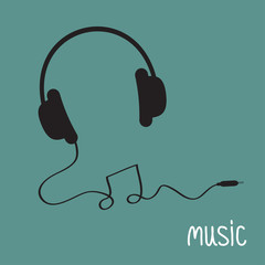 Black headphones with cord in shape of note Music background
