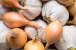 Fresh organic garlic and onions close up, clean eating concept - 81857773