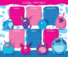 School timetable monsters