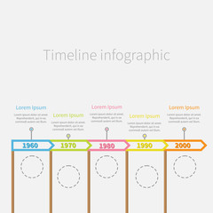 Arrow Flag on sticks Horizontal Timeline Infographic