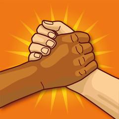 Hände beim Händedrücken und Gemeinsamkeit