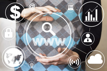 Business button www search web virtual