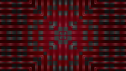 kaleidoscope dark squares on a red background, loop
