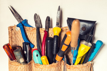 Set of various handyman tools