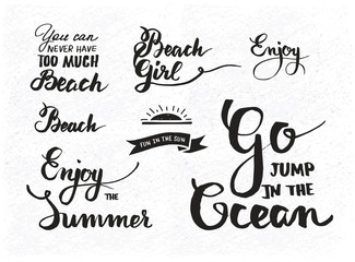 Set of summer motivational quotes about beach vacation and