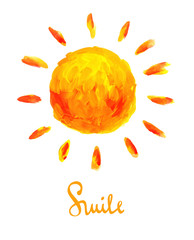 Vector illustration -- sun and smile. Drawing brush strokes.