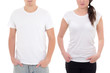 young man and woman in white t-shirts with copy space isolated o