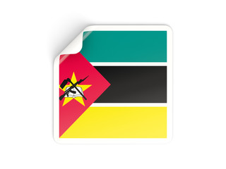 Square sticker with flag of mozambique