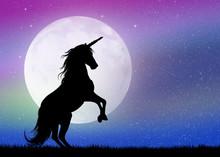 """Постер, картина, фотообои """"unicorn in the moonlight"""""""