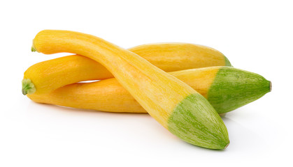 yellow zucchini on white background