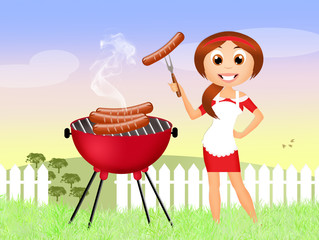 girl barbecue