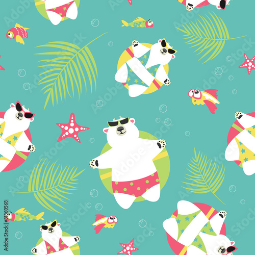 Seamless vector background with polar bears and sea - 81860568