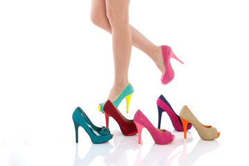 beautiful female legs in fashion shoes