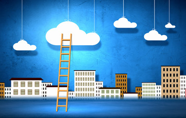 Conceptual image with ladder to chat clouds